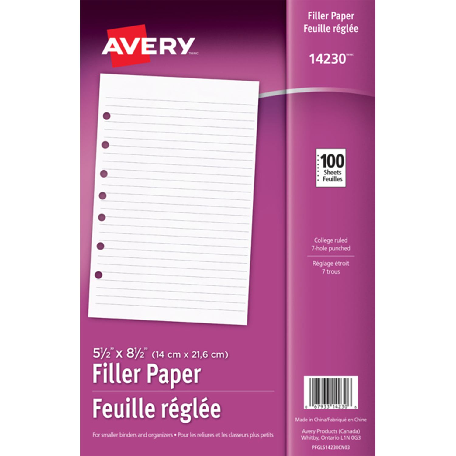 College Ruled Avery Mini Binder Filler Paper 14230 2-100//Pack 7-Hole Punch