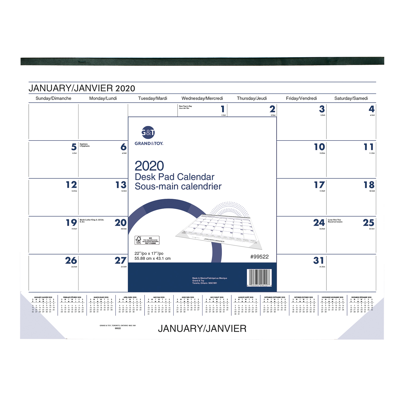 Calendrier Mois Janvier 2020.Sous Main Calendrier Mensuel Grand Toy 21 3 4 Po X 17 Po