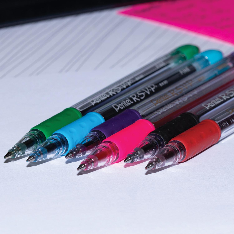 Pentel R.S.V.P. Ballpoint Stick Pens, Blue, Medium 1.0 mm, 12 EA/BX RUBBER GRIP REFILLABLE STAINLESS STEEL TIP