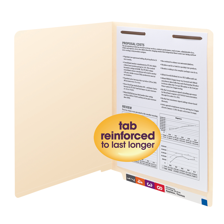 Smead End Tab Fastener File Folders, Letter Size, 50/BX SHELF-MASTER STRAIGHT-CUT TAB LETTER SIZE/MANILA