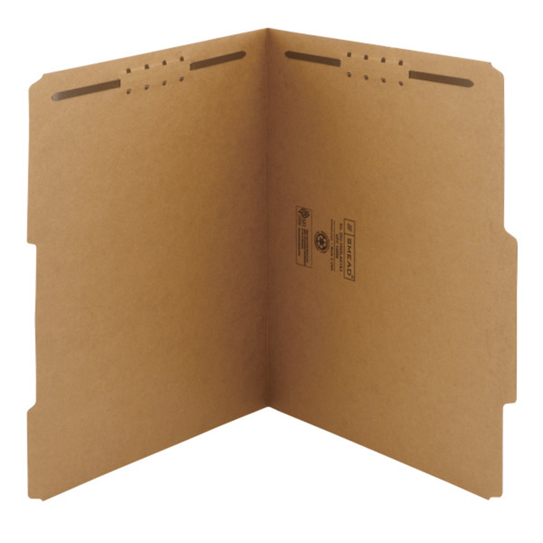 Chemises de classement avec deux attaches Smead, onglet renforcé 2/5, format lettre, boîte de 50 REINFORCED 2/5-CUT TAB LETTER SIZE/KRAFT