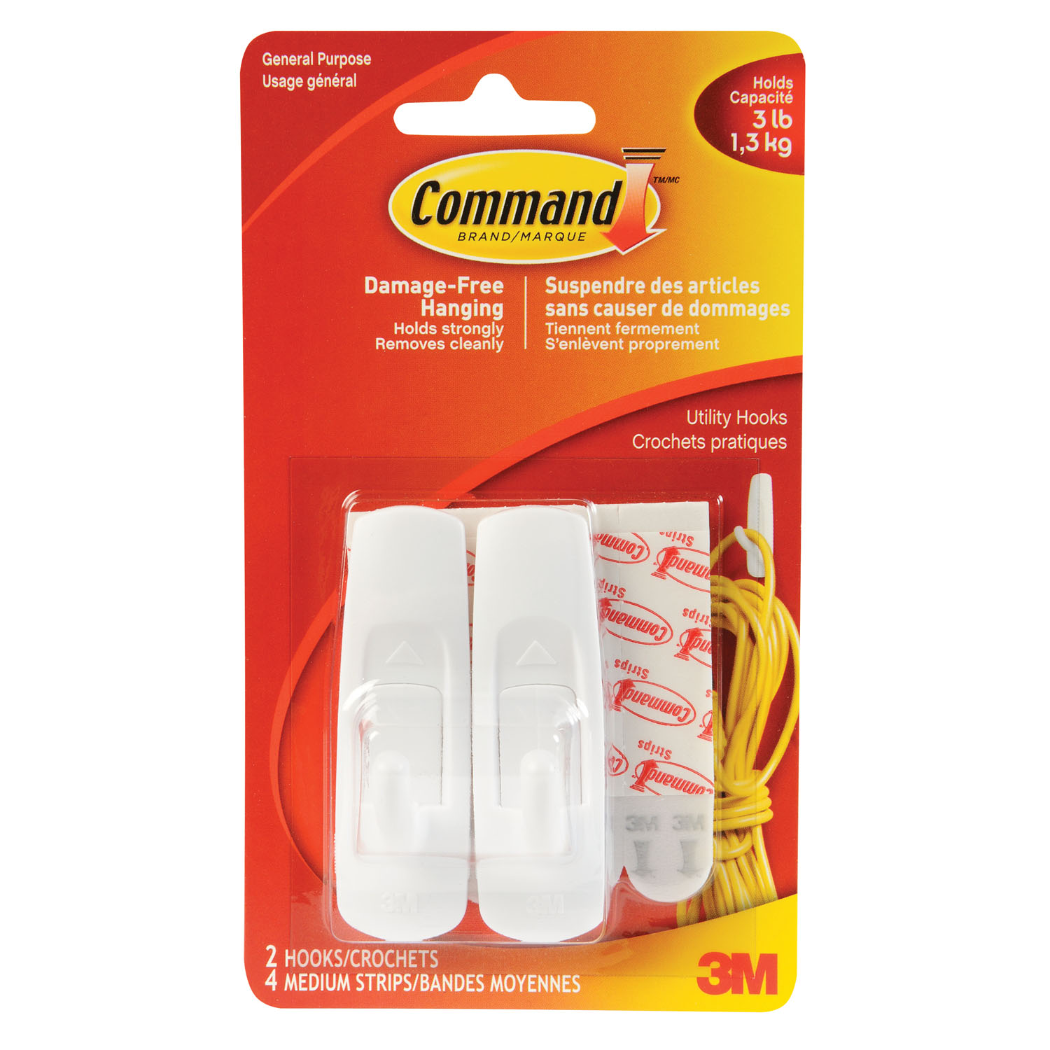 Command Adhesive Utility Hooks, Medium, Holds Up To 3 Lbs
