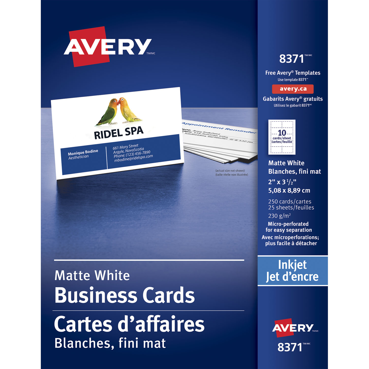 Avery matte white perforated 2quot x 3 1 2quot business cards for Avery online business cards