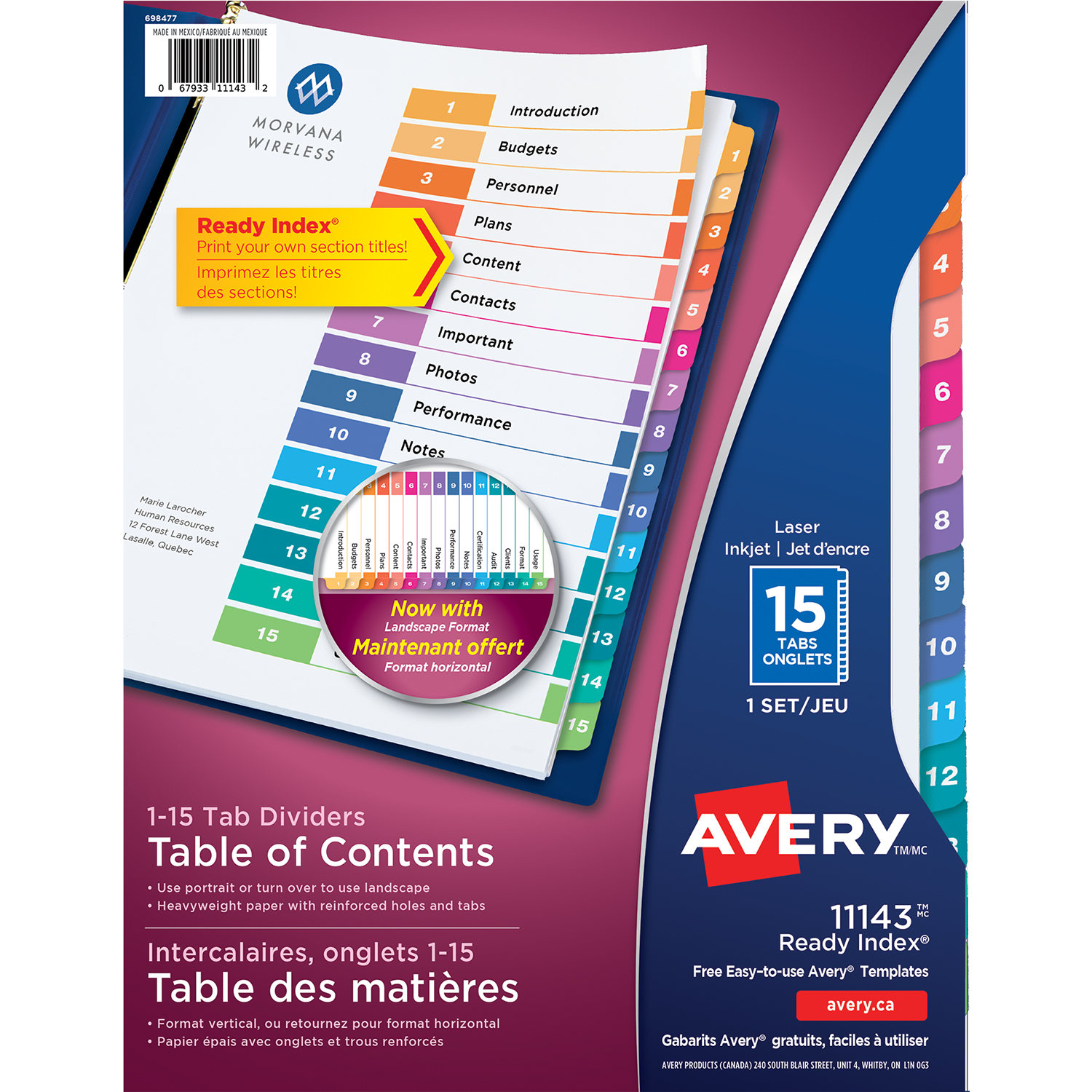 Avery ready index customizable table of contents classic for Avery table of contents template 15 tab