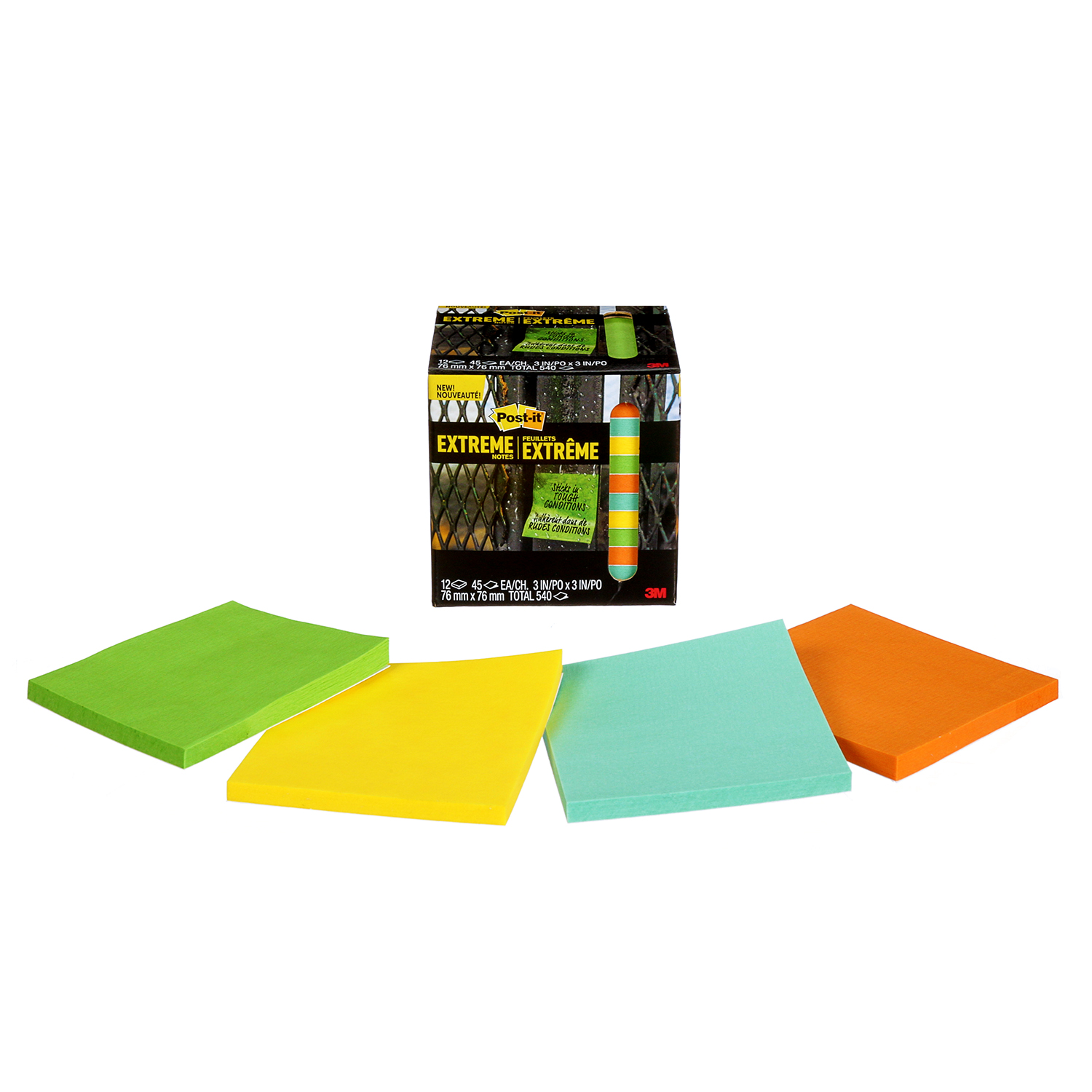 Post-it Extreme Notes Green Orange Yellow 3 Pads 76 mm x 76 mm