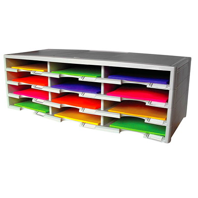 Storex 12-Compartment Recycled Document Sorter RECYCLED - MADE FROM 50% PC MATERIALS