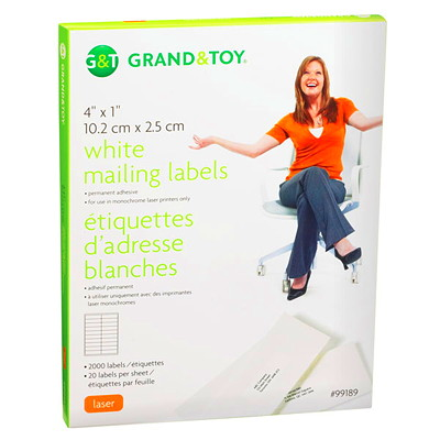 Grand & Toy White Mailing Laser Labels 20/SHEET 100 SHEETS/BX