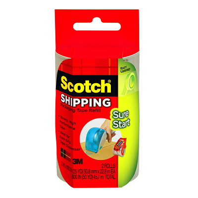 Scotch Easy-Grip Shipping and Packaging Sure Start Tape Dispenser Refill 48MM X 22.86M  PACKAGE OF 2