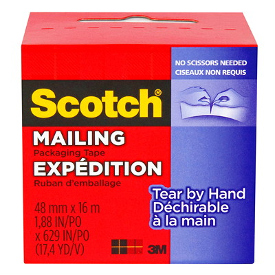 Scotch Tear-By-Hand Mailing Packaging Tape 48MM X 16M
