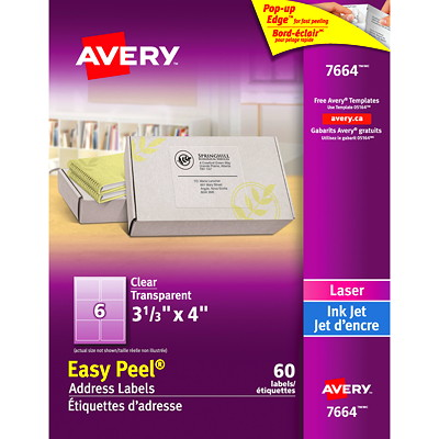Avery Clear Glossy Labels EASY PEEL 1