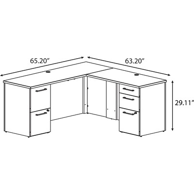 desk home designs latest as well 300s037 mr bush 300 series l desk with 42 return - Glass L Shaped Desk