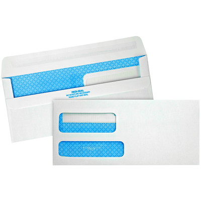 Quality Park Double-Window White Wove Invoice and Statement Envelopes ENVELOPE 3-7/8X8-7/8 PEEL AND STICK WHITE 500/BX
