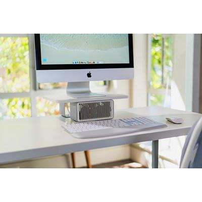 """Kensington CoolView Wellness Monitor Stand with Desk Fan, White, 15""""W x 9 1/2""""D x 4 2/5""""H DUAL-FAN WITH 2-SPEEDS SSUPPORTS MONITORS UP TO 27"""
