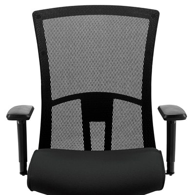 Global Vion Mid-Back Multi-Tilter Chair, Fully Assembled, Licorice Black Imprint Fabric Seat/Mesh Back IMPRINT  GR 4 BLK IM84 FULLY ASSEMBLED