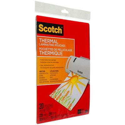 Pochettes de plastification thermique format lettre Scotch, 3 mils, emb. de 20 TP3854-20-C 9INX11.5IN (228MMX291MM)