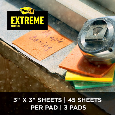 """Post-it Extreme Notes, Green/Yellow/Orange/Mint, 3"""" x 3"""", 45 Sheets/Pad, 12/PK ASSORTED COLORS  3"""" X 3"""" 12 PADS/45 SHEETS"""