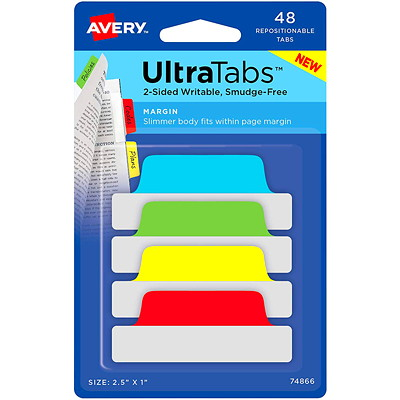 """AVERY ULTRATAB 2.5""""X1"""" PRIMARY PK/48  TWO SIDED  WRITABLLE"""