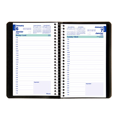"Blueline Daily Planner, 8"" x 5"", Black, January 2020 - December 2020, Bilingual  SOFT COVER 1DPP SPIRAL BLACK 50% PCW FSC CERTIFIED"