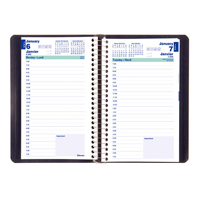 "Blueline Essential Daily Planner, 8"" x 5"", Blue, January 2020 - December 2020, Bilingual SPIRAL BINDING  SOFT COVER BILINGUAL. BLUE  8X5"