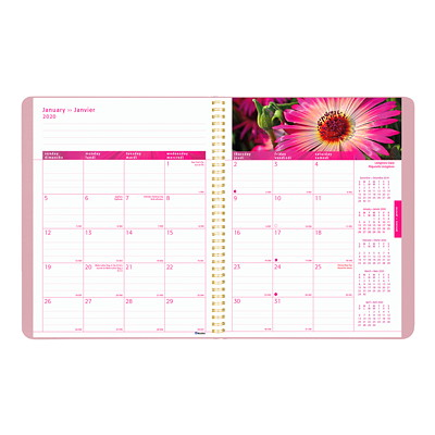 "Blueline Pink Ribbon Monthly Planner, 8 7/8"" x 7 1/8"", Pink, December 2019 - January 2021, Bilingual SOFT COVER  TWIN WIRE BILINGUAL 50% PCW FSC CERT"