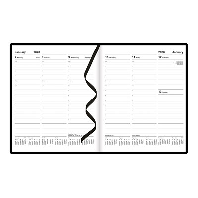 "Letts Principal Weekly Planner, 10 1/4"" x 8 1/4"", Black, January 2020-December 2020, English X 8-1/4 2PPW HARD COVER BLACK FSC CERTIFIED"