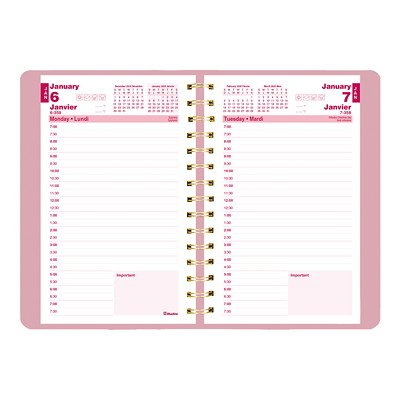 "Blueline Pink Ribbon Daily Planner, 8"" x 5"", Pink, January 2020 - December 2020, Bilingual BILINGUAL  7:00AM TO 7:30PM 50% PCW FSC CERTIFIED"