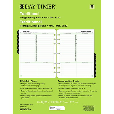 "Day-Timer 12-Month Daily Planner Refill, 8 1/2"" x 11"", January 2021 - December 2021, Bilingual 8-1/2X11 30% PCW"
