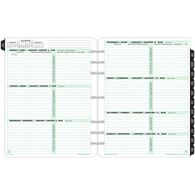 "Day-Timer Weekly Planner Refill, 8 1/2"" x 11"", January 2020 - December 2020, Bilingual 8-1/2 X 11 VENDOR ITEM 68532 30% PCW"