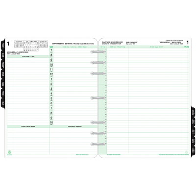 """Day-Timer 12-Month Daily Planner Refill, 8 1/2"""" x 11"""", January 2021 - December 2021, Bilingual 8-1/2 X 11 30% PCW"""