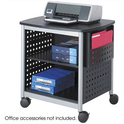 "Safco Scoot Desk-Side Printer Stand, 26 3/8""W x 20 3/8""D x 26 3/8""H, Black And Silver Leg Accents STAND 26 1/4""WX20 3/8""DX26 3/8""H"