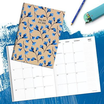 KRAFT BLUE FLORAL AY MEDIUM MO 7.5 X 10.25 MONTHLY PLANNER JULY 2019 - JUNE 2020