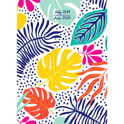TROPICAL LEAVES AY MEDIUM MONT 7.5 X 10.25 MONTHLY PLANNER JULY 2019 - JUNE 2020