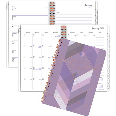 PURPLE FRACTAL SMALL SOFT TOUC WEEKLY/MONTHLY PLANNER ENGLISH