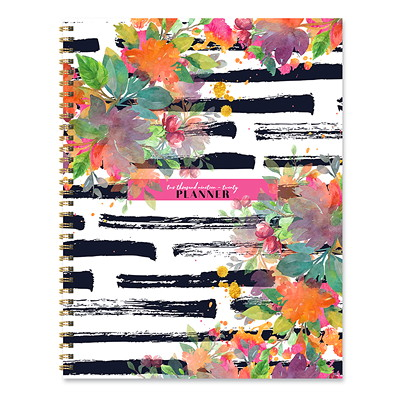 STRIPED FLORAL AY LARGE DAILY 9 X 11 AY WEEKLY MONTHLY PLANN JULY 2019 - JUNE 2020