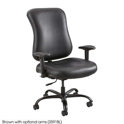 Safco Optimus Big & Tall Chair, High-Back, Black, Vinyl WEIGHT CAPACITY 400LB BONDED LEATHER UPHOLSTERY