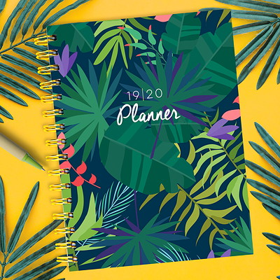 "TF Publishing Botanical Leaves Academic Weekly Planner, 6 1/2"" x 8"", July 2019 - June 2020, English 6.5 X 8 WEEKLY MONTHLY PLANNER JULY 2019 - JUNE 2020"