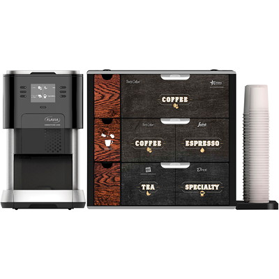 Flavia Creation C500 Single-Serve Brewing Machine With 3-Drawer Beverage Holder  3 DRAWER MERCHANDISER PLUMBED OR POUROVER