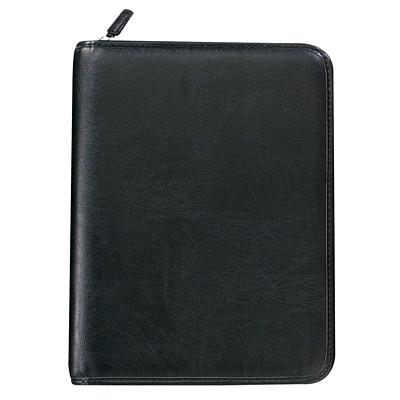 """Day-Timer Faux Leather Zippered 12-Month Daily Organizer/Planner Starter Set, 6 3/4"""" x 3 3/4, Black, Undated, Bilingual 3-3/4 X 6-3/4 ZIP BILINGUAL"""