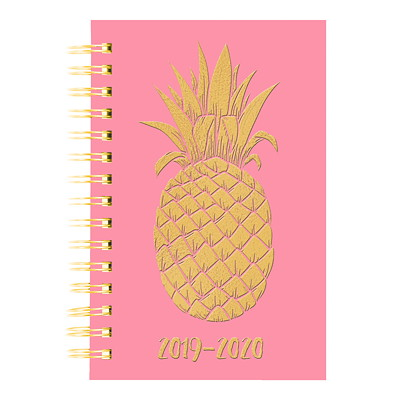 "Blueline Academic Weekly/Monthly Planner, 8"" x 5"", Pink Pineapple Design, July 2019-July 2020, Trilingual  13-MONTH  TRILINGUAL 8 X 5  PINEAPPLE DESIGN"