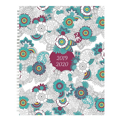 "Blueline DoodlePlan Weekly/Monthly Academic Planner, 10 1/4"" x 7 5/8"", Botanica Design, August 2019-July 2020, Bilingual BOTANICA DESIGN 10-1/4 X 7-5/8  BILINGUAL"