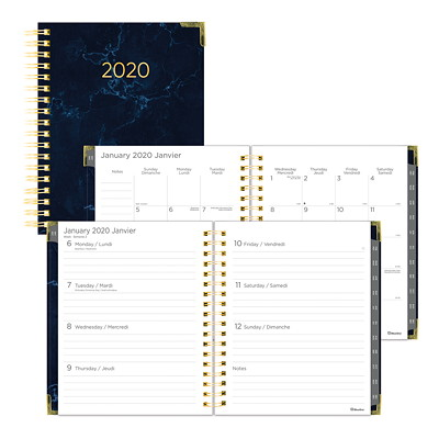 WEEKLY/MONTHLY PLANNER NAVY MARBLE DESIGN BILINGUAL  9-1/4 X 7-1/4