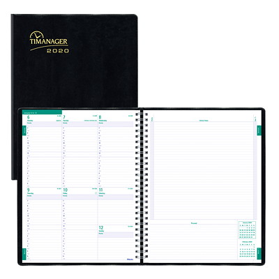 "Blueline Timanager Weekly Planner, 11"" x 8 1/2"", Black, December 2019 - December 2020, English 11"" X 9 1/16"" ENGLISH ONLY 50% PCW FSC CERTIFIED"