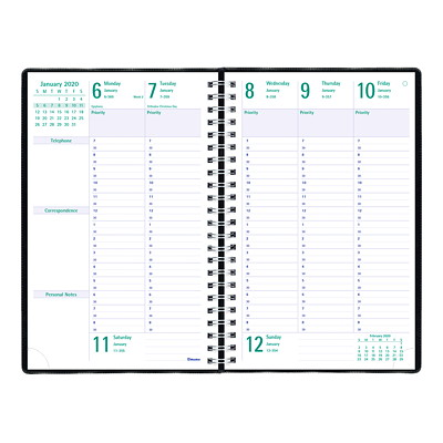 "Blueline Timanager Weekly Planner, 9 1/16"" x 5 7/8"", Black, December 2019 - December 2020, English 9-1/16 X 5-7/8  ENGLISH 50% PCW  FSC CERTIFIED"