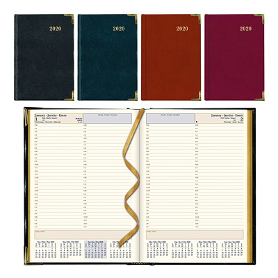"Brownline Executive Daily Planner, 10 3/4"" x 7 3/4"", Assorted Colours, January 2020 - December 2020, Trilingual  ASST BLK BURG 10-3/4X7-3/4 50% PCW"