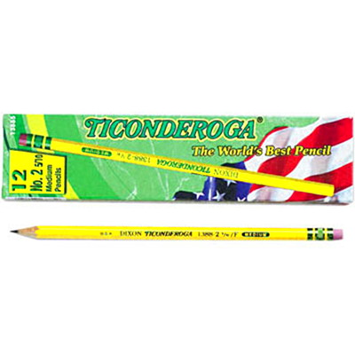 Dixon Ticonderoga Pencils, #2.5 HB, Medium/Hard, 12/BX 12/BOX