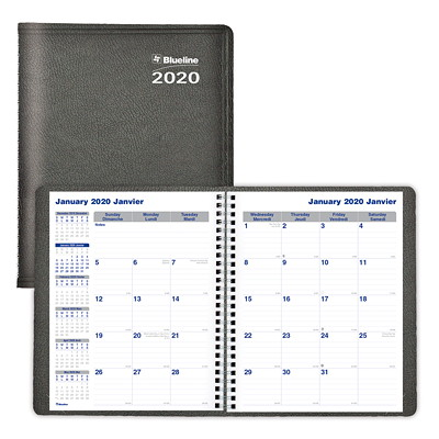 "Net Zero Carbon Monthly Planner, 9 1/4"" x 7 1/4"", Black, December 2019 - January 2021, Bilingual TWIN-WIRE BINDING  SOFT COVER BILINGUAL  BLACK"