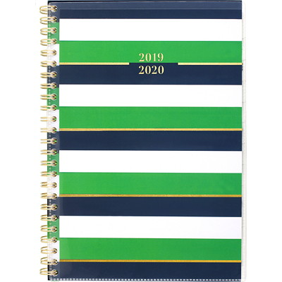 "At-A-Glance Small Weekly/Monthly Academic Planner, 6 1/4"" x 8 1/2"", Blair Stripes, July 2019-June 2020, Bilingual  WEEKLY/MONTHLY BILINGUAL"