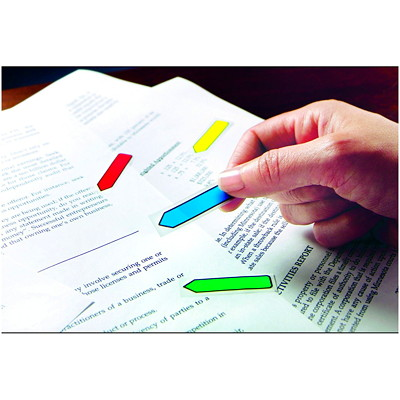 """Post-it Preprinted Arrow Message Flags, With On-The-Go Dispenser, Assorted Primary Colours, 1/2"""" x 1 7/10"""", 100 Flags/PK RED/BLUE/YELLOW/GREEN/PURPLE"""
