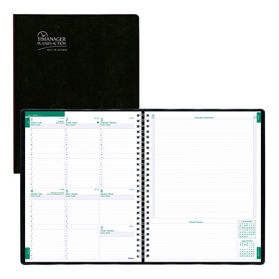"Blueline Timanager Academic Weekly Planner, 11"" x 8 1/2"", Black, July 2019 - July 2020, Bilingual  JULY TO JULY BLACK  BILINGUAL"