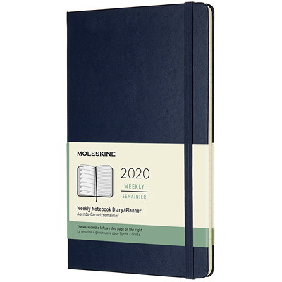 "Moleskine Weekly Planner, 5"" x 8 1/4"", Blue, January 2020 - December 2020, English SAPPHIRE BLUE HARD"